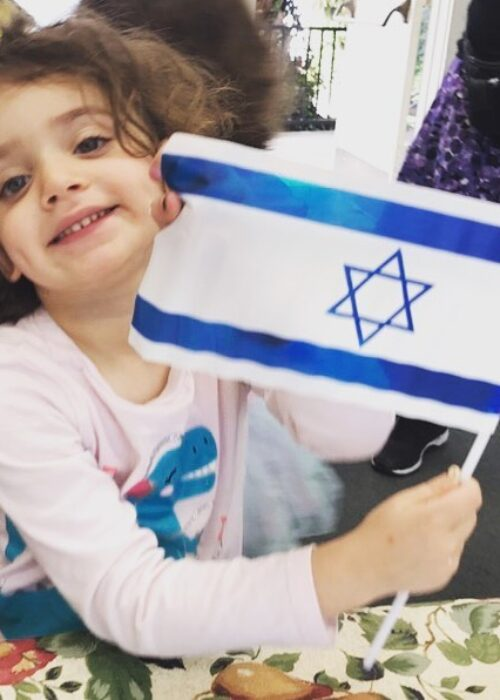 Emily with Israel flag