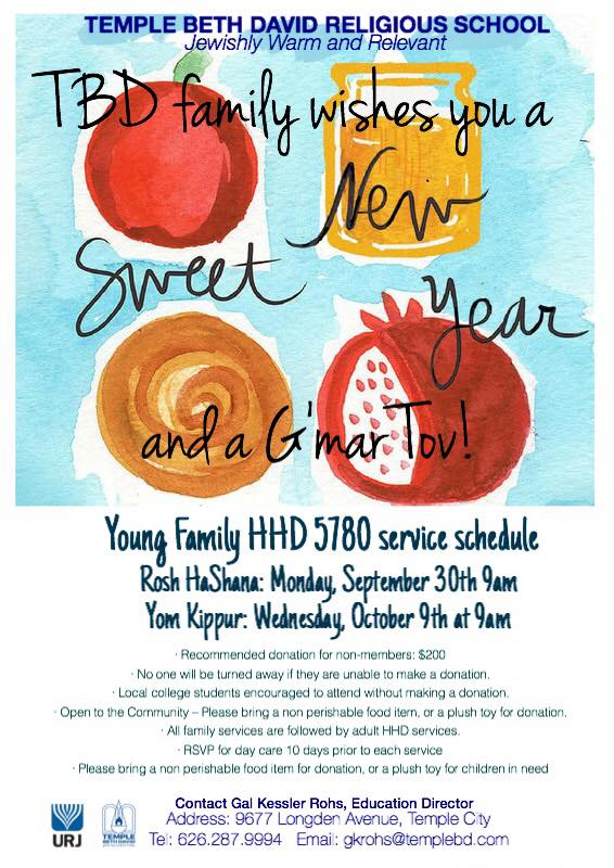 Service Calendar - Temple Beth David of the San Gabriel Valley