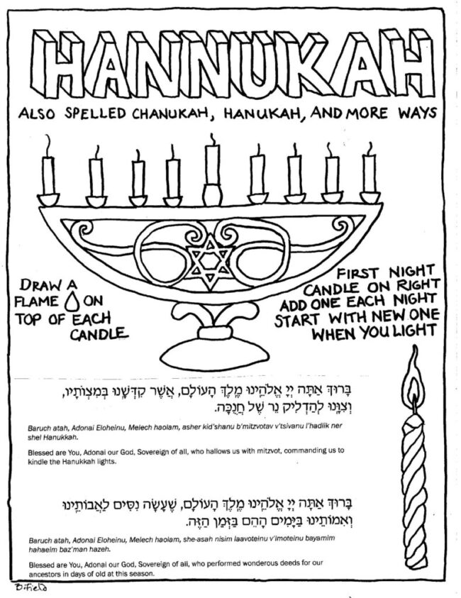 Click Here to Download the Chanukah Lights Coloring Sheet