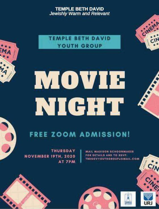 temple beth davud youth group movie night