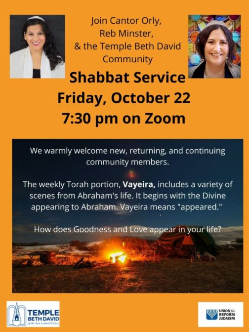 Click our flyer for our Shabbat service on 10/22 at 7:30 p.m.